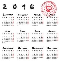 year of the monkey calendar vector image