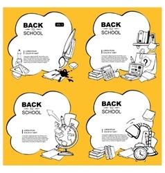 Background set of school elements vector