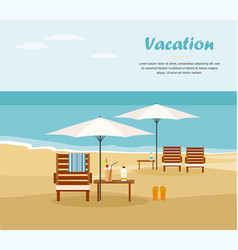 Chaise lounge and umbrella on beach vector