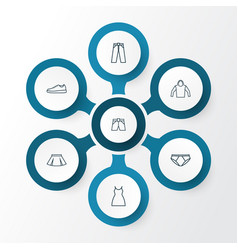 clothes outline icons set collection of vector image