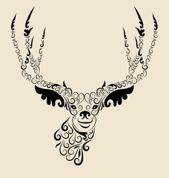 Deer head ornament vector image vector image