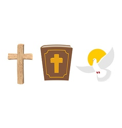 Holy Bible wooden cross and White Dove Christian vector image