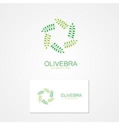 Logo green branch arranged in a circle vector
