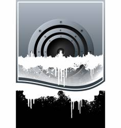 music skyline grunge lined background vector image