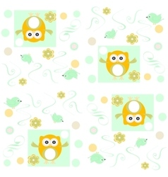 Seamless owls pattern background vector image vector image