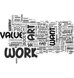 what makes art valuable text word cloud concept vector image