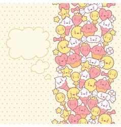 Seamless kawaii pattern with cute cakes vector image vector image