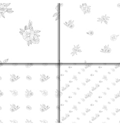 set of four black and white floral patterns vector image