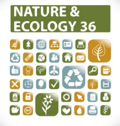 36 nature ecology buttons vector image