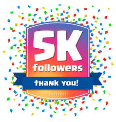 5000 followers thank you design card vector image vector image