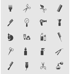 Black Barber Shop Icons vector image