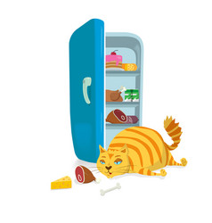 fat cat steal food from the refrigerator vector image vector image