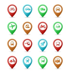 Map pins with Transport icons vector image vector image