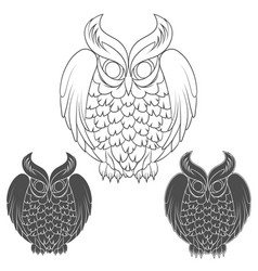 Set of black and white owl images vector