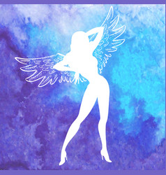 silhouette of sexy woman with wings vector image