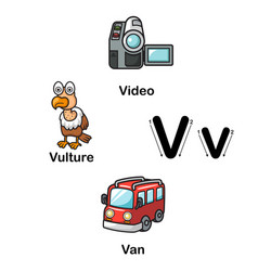 alphabet letter v-video vulture van vector image vector image