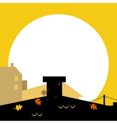 autumn town black wilhouette with sunset vector image vector image