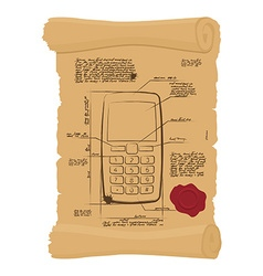 Cell phone with buttons on old scroll Paper vector image
