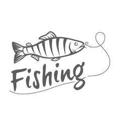 fishing logo isolated on a dark background vector image