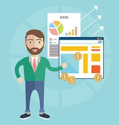 Flat design concept of businessman presenting his vector image