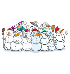 happy snowmen group cartoon vector image vector image