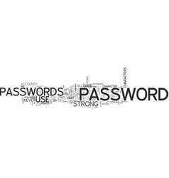 What makes a strong password text word cloud vector