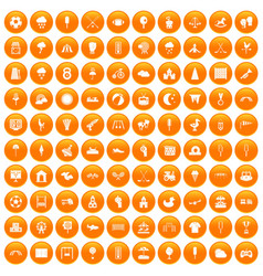100 childrens playground icons set orange vector