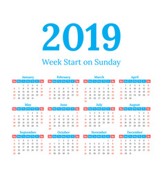 2019 calendar start on sunday vector image