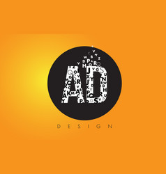 Ad a d logo made of small letters with black vector