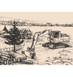 Agriculture rural village Landscape vector image