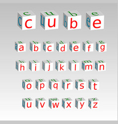 alphabet on a cubes isolated on background stock vector image