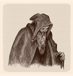 beggar old man with a staff vector image