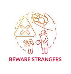 Beware strangers red gradient concept icon vector