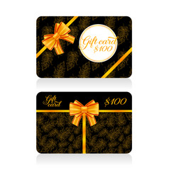 black gift cards with golden decor feather pattern vector image