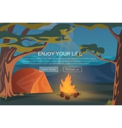 Camping walking hiking outdoor night camp vector image