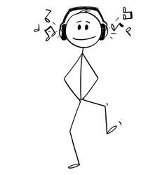 Cartoon happy man walking with big headphones vector