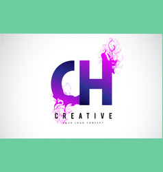Ch c h purple letter logo design with liquid vector