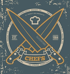 Chefs T-shirt print design with grunge vector image