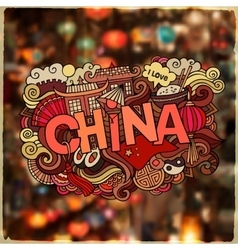 China country hand lettering and doodles elements vector