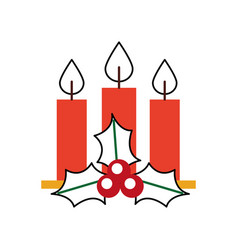 Christmas three candle holly berry leaves burning vector