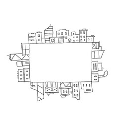 City panorama drawing in rectangular square area vector