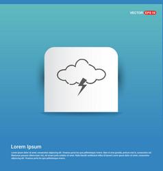 cloud lightening icon - blue sticker button vector image