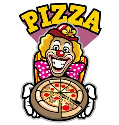 clown presenting the pizza vector image