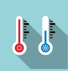 cold and hot temperature icons thermometer symbol vector image