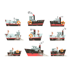 Collection fishing vessels trawlers vector