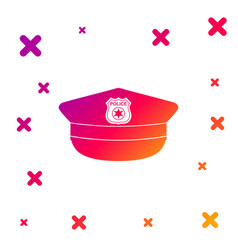 Color police cap with cockade icon isolated on vector