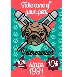 Color vintage veterinarian poster vector