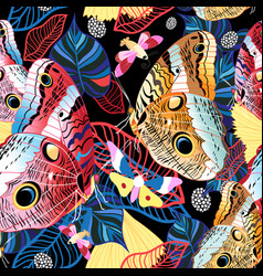 Colorful tropical pattern exotic butterflies vector