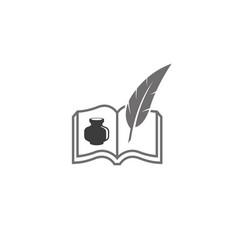 Creative abstract book feather ink logo design vector