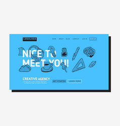 creative agency office landing page example design vector image